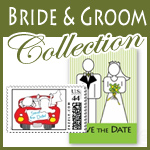 bride and groom wedding save the date cards